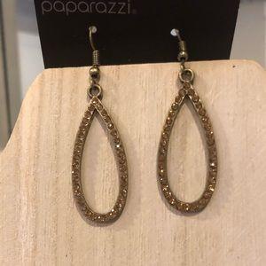 Paparazzi Brass teardrop earrings with gemstones